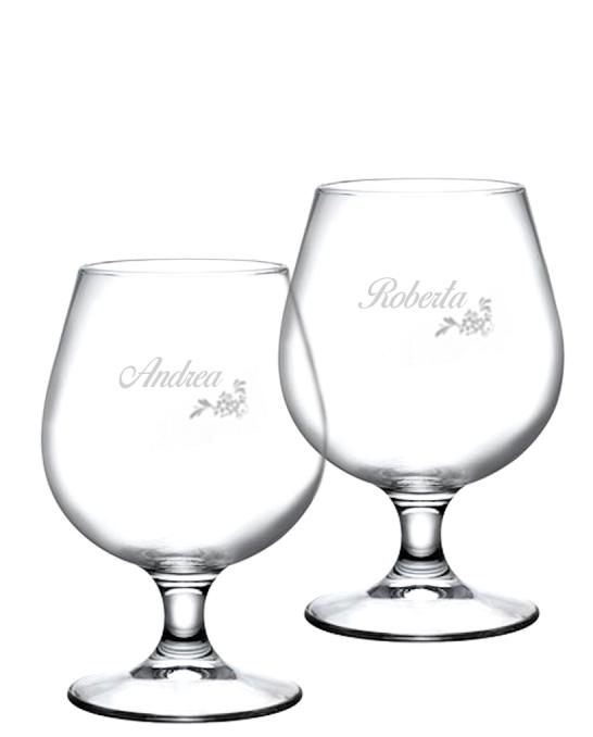 Bicchieri Personalizzati Coppia ,Modello Floreale Bicchiere Birra snifter 53 cl 2 pezzi