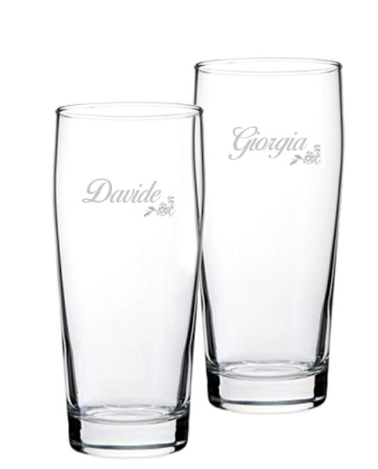 Bicchieri Personalizzati Coppia ,Modello Floreale Bicchiere Birra Willy 33 cl 2 pezzi