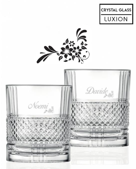 Bicchieri Personalizzati Coppia ,Modello Floreale Bicchiere whisky in cristallo 34 cl 2 pezzi