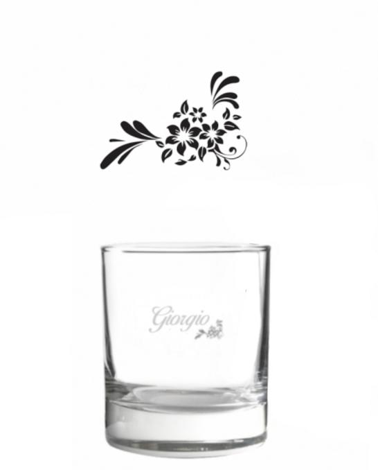 Bicchieri Personalizzati Singoli ,Modello Floreale Bicchiere whisky in vetro 30 cl 1 pezzo