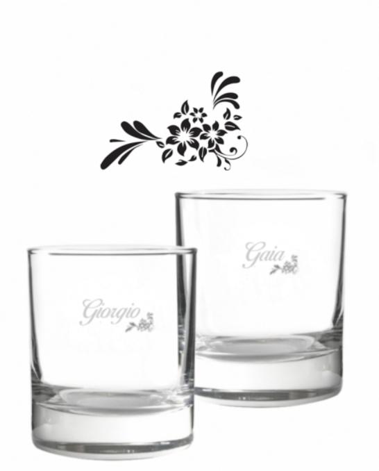 Bicchieri Personalizzati Coppia ,Modello Floreale Bicchiere whisky in vetro 30 cl 2 pezzi