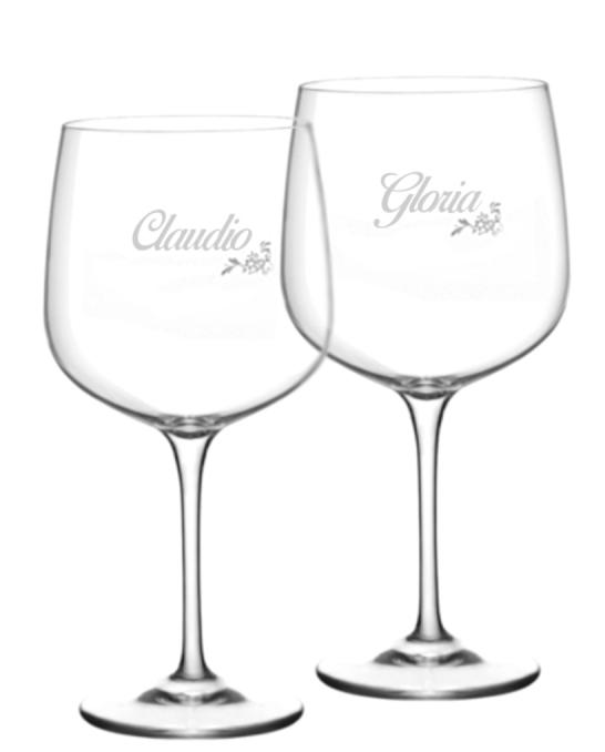 Bicchieri Personalizzati Coppia ,Modello Floreale Calice Gin Tonic Vetro Cristallino 76 cl 2 pezzi