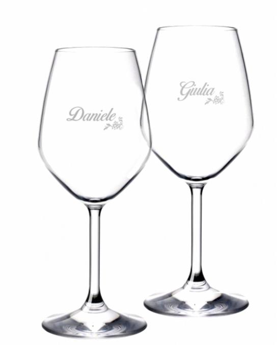 Bicchieri da Vino e Acqua personalizzati ,Modello Floreale Calice Vino bianco 44.5 cl 2 pezzi