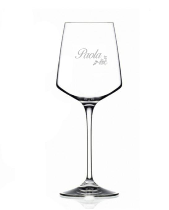 Bicchieri Personalizzati Singoli ,Modello Floreale Calice Vino bianco Cristallo RCR 46 cl 1 pezzo