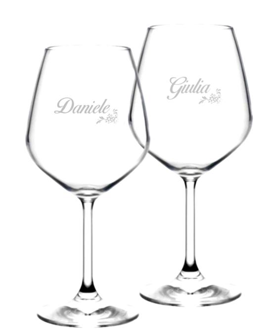 Bicchieri da Vino e Acqua personalizzati ,Modello Floreale Calice Vino rosso 52.5 cl 2 pezzi