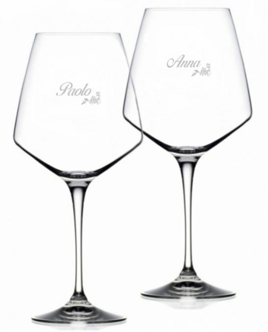 Bicchieri Personalizzati Coppia ,Modello Floreale Calice Vino rosso Cristallo RCR 79 cl 2 pezzi
