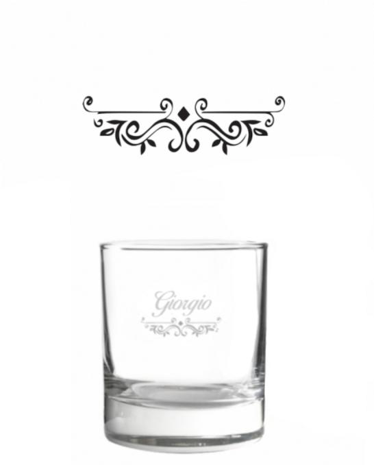Bicchieri Personalizzati Singoli ,Modello Vittoriano Bicchiere whisky in vetro 30 cl 1 pezzo