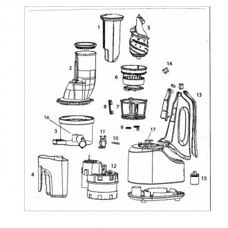 Accessori elettrici,Ricambio Estrattore Vema ET2102 - Caraffa succo o fibra