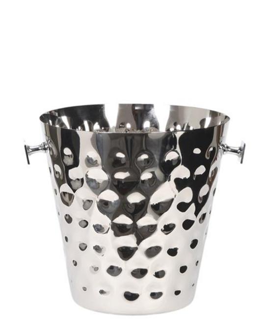 Accessori Vini & Champagne ,Secchiello Portabottiglia 22.5 cm in acciaio martellato