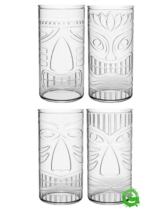 Mug  ,Set Tiki Mug in vetro assortite 47.5 cl 12pz