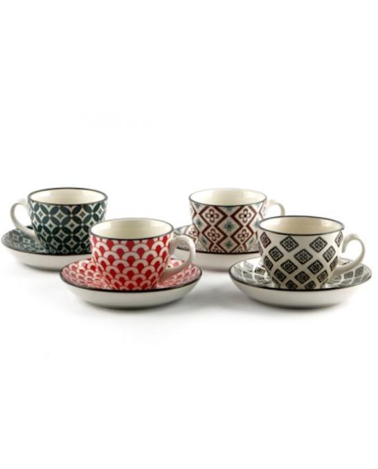Caffetteria e Latte Art ,Tazza da thè con piattino in porcellana 4 pezzi