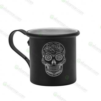Mug ,Tazza in alluminio 42.5 cl Nero opaco Mexican Skull