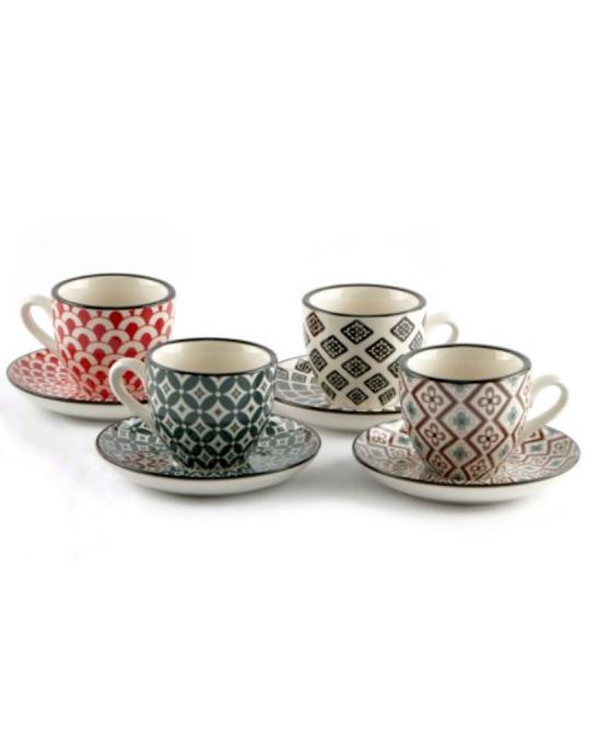 Caffetteria e Latte Art ,Tazzina da caffè con piattino in porcellana 4 pezzi