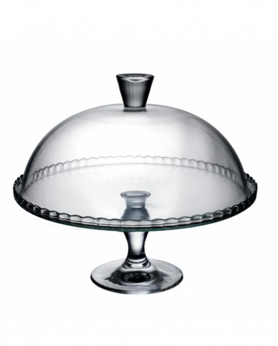 Decorazione Guarnizione Alzata portadolci o torte con campana in vetro