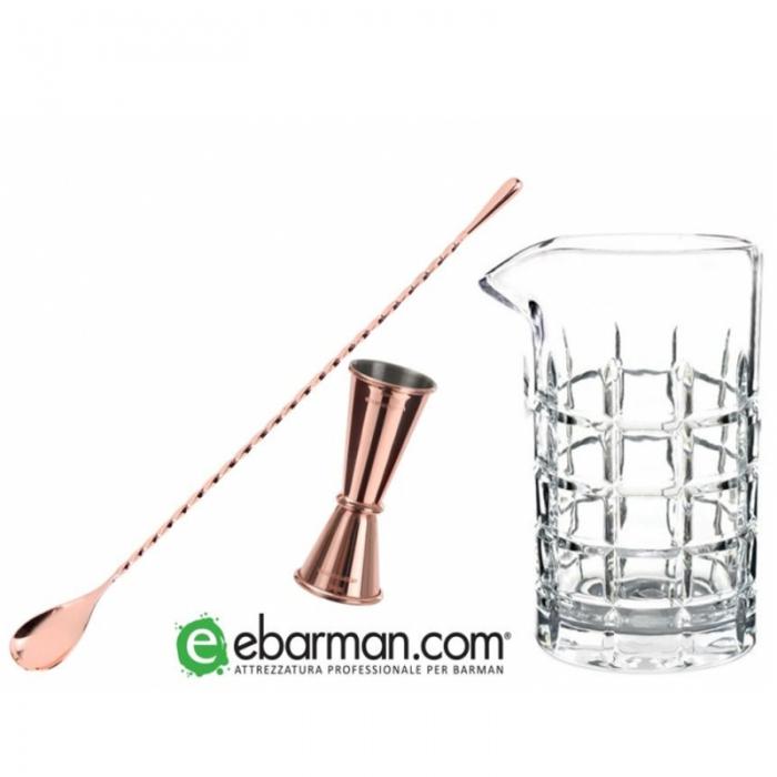 Offerte per Barman Bar Spoon Rame 32 cm, Jigger Rame 15/30 ml & Mixing Glass Diamante Offerta!