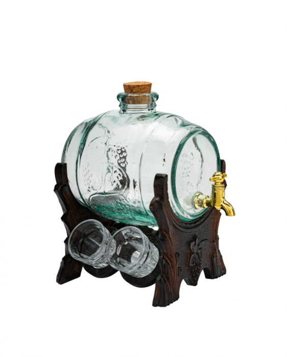 Botti e Alambicchi Botte in vetro 1 lt con sostegno e rubinetto dorato