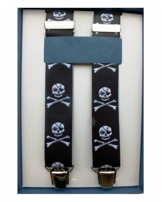 Abbigliamento per Barman Bretelle colore nero clip argento motivo teschio