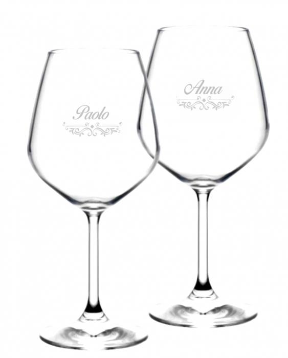 Bicchieri da Vino e Acqua personalizzati Calice Vino rosso Modello Vittoriano 52.5 cl 2 pezzi