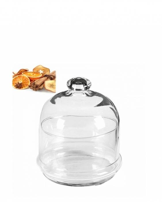 Decorazione Guarnizione Campana piccola in vetro ø 11 cm con coperchio
