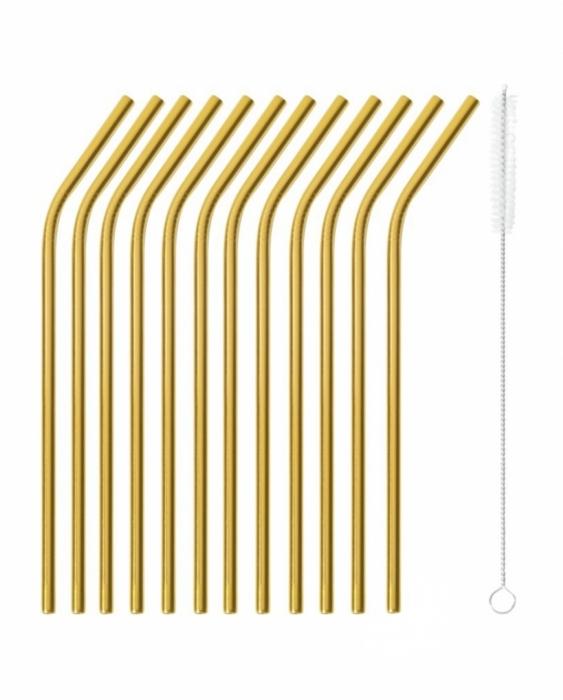 Cannucce e Tovaglioli Cannucce Curve color oro 21.5 cm con scovolino 12pz