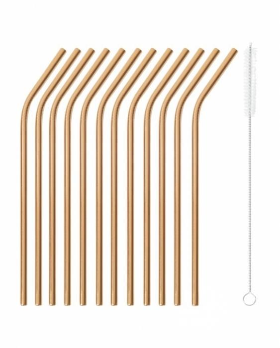 Cannucce e Tovaglioli Cannucce Curve color rame 21.5 cm con scovolino 12pz