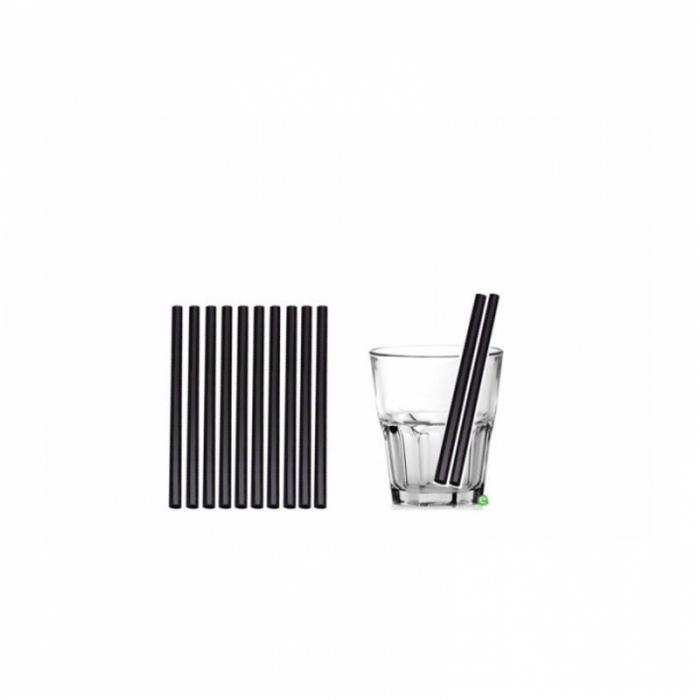 Cannucce e Tovaglioli Cannucce dritte colore Nero 15cm Biodegradabili e Compostabili Conf.500 pz