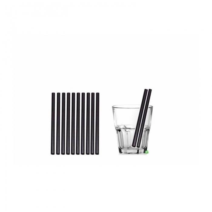 Cannucce e Tovaglioli Cannucce dritte colore Nero 16cm Biodegradabili e Compostabili Conf.500 pz