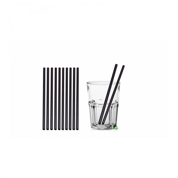 Cannucce e Tovaglioli Cannucce dritte colore Nero 21cm Biodegradabili e Compostabili Conf.500 pz