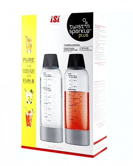 Sifoni Seltz Soda Panna ISI Twist'n Sparkle Plus set 2 bottiglie 950 ml