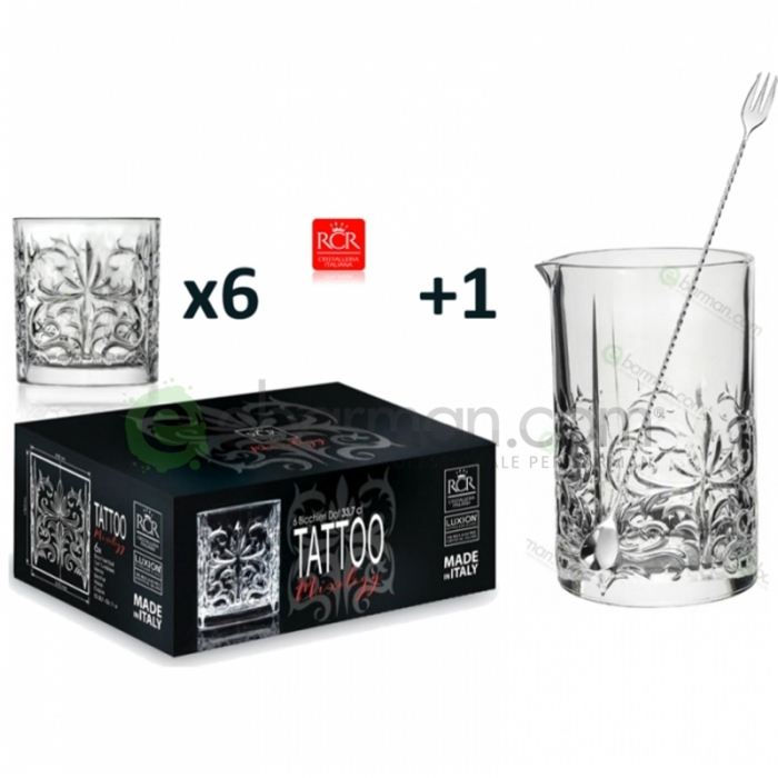 Kit e valigette Barman Kit Barman Servizio RCR Linea Tattoo + Bar Spoon Set 8pz