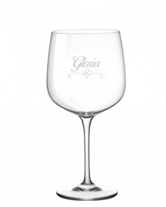 Bicchieri Personalizzati Singoli Modello Cuori Calice Gin Tonic Vetro Cristallino 76 cl 1 pezzo
