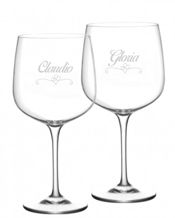 Bicchieri Personalizzati Coppia Modello Cuori Calice Gin Tonic Vetro Cristallino 76 cl 2 pezzi