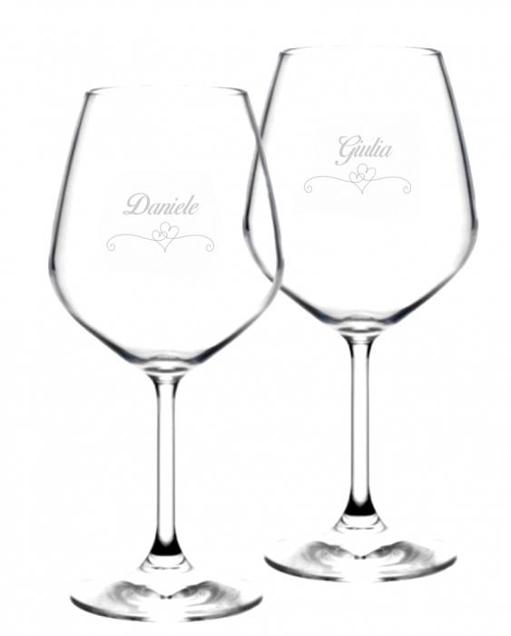 Bicchieri Personalizzati Coppia Modello Cuori Calice Vino rosso 52.5 cl 2 pezzi