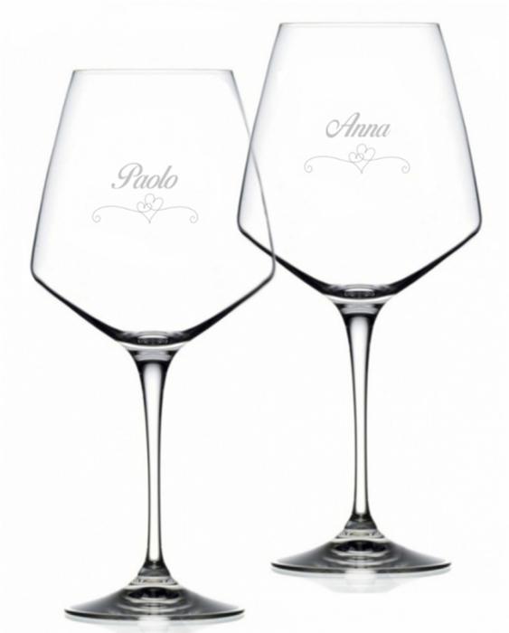 Bicchieri Personalizzati Coppia Modello Cuori Calice Vino rosso Cristallo RCR 79 cl 2 pezzi