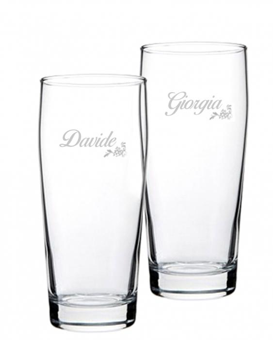 Bicchieri Personalizzati Coppia Modello Floreale Bicchiere Birra Willy 33 cl 2 pezzi