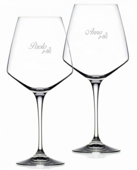 Bicchieri Personalizzati Coppia Modello Floreale Calice Vino rosso Cristallo RCR 79 cl 2 pezzi