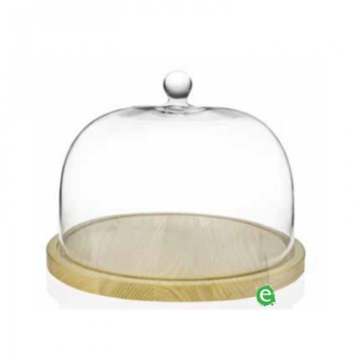 Decorazione Guarnizione Piatto per Formaggi con Cupola in vetro RCR 280 mm