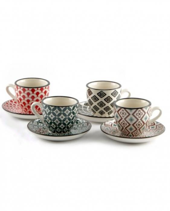 Caffetteria e Latte Art Tazzina da caffè con piattino in porcellana 4 pezzi