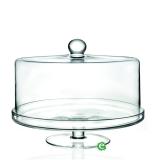Decorazione Guarnizione Alzata Porta dolci con cupola piana in cristallo RCR