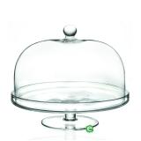Decorazione Guarnizione Alzata Porta dolci con cupola rotonda RCR in cristallo.