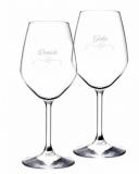 Bicchieri da Vino e Acqua personalizzati Calice Vino bianco Modello Cuori 44.5 cl 2 pezzi
