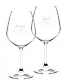 Bicchieri da Vino e Acqua personalizzati Calice Vino rosso Modello Cuori 52.5 cl 2 pezzi