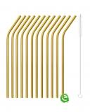 Cannucce e Tovaglioli, Cannucce Curve color oro 21.5 cm con scovolino 12pz