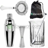 Kit e valigette Barman Kit Barman Silver Italiano Luxury Set 6pz