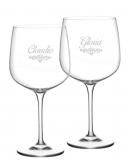 Bicchieri Personalizzati Coppia Modello Art Nouveau Calice Gin Tonic Vetro Cristallino 76 cl 2 pezzi