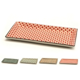 Accessori per Servizio Bar, Set di vassoi Mosaik in Porcellana per servizio aperitivi 23.7x12 cm 4pz